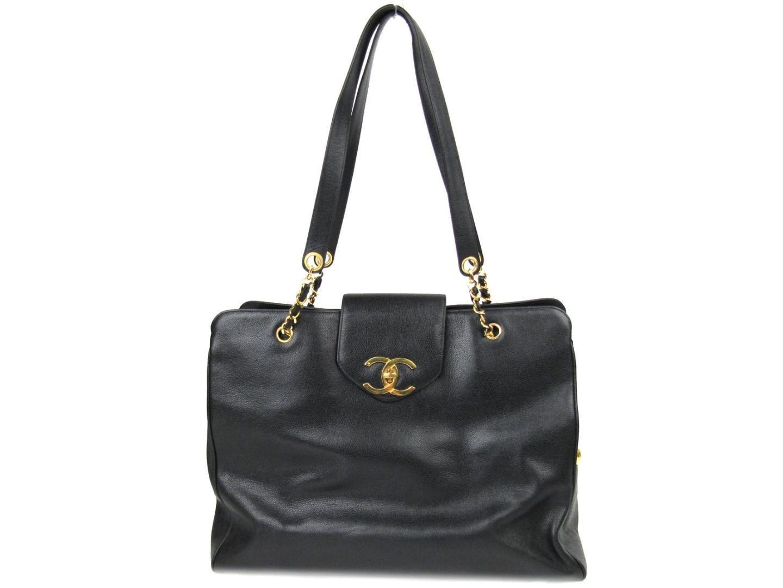 8bccf98b69e907 Chanel Authentic Supermodel Tote Bag Caviar Leather Black in Black ...