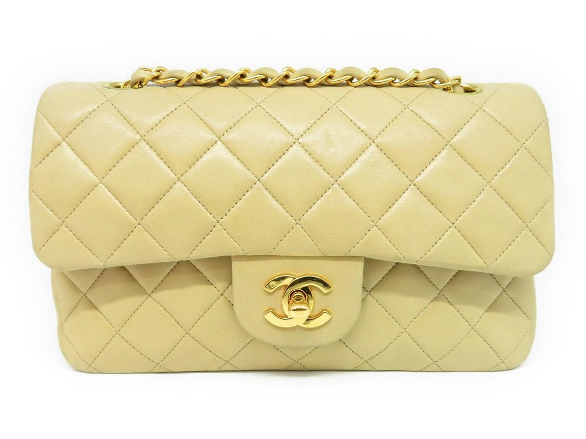 67b8902e28a8 Lyst - Chanel Lambskin Classic Double Flap Chain Shoulder Bag ...