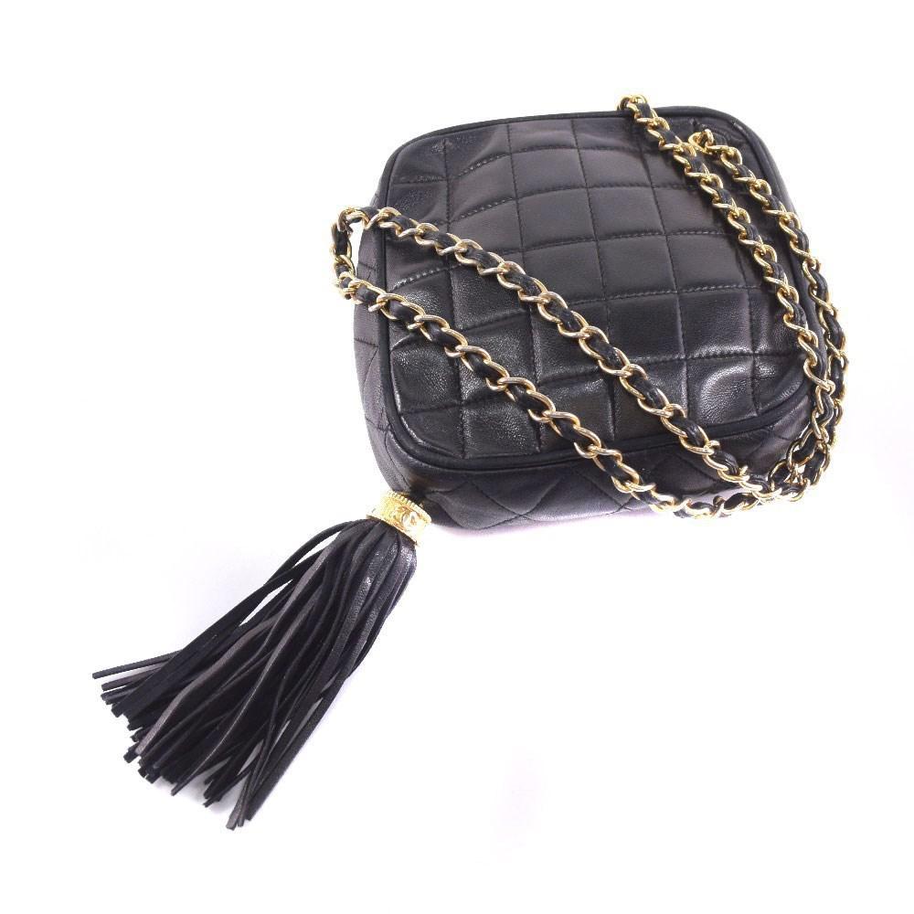 18846b4e6620 Lyst - Chanel Lambskin Black Shoulder Bag Women in Black