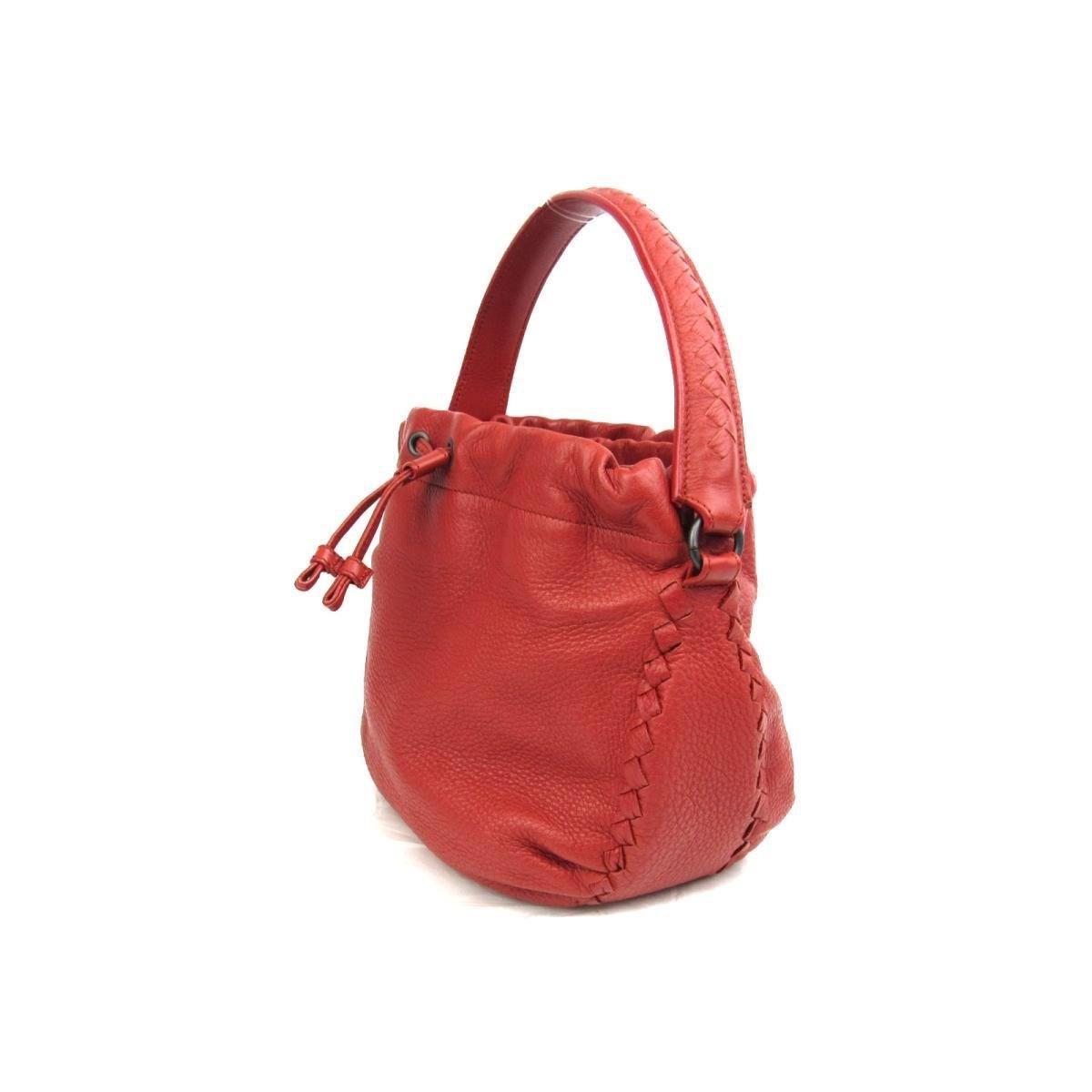 Lyst - Bottega Veneta Authentic Drawstring Hand Bag Leather Red Used ... fdcc64ef0b181