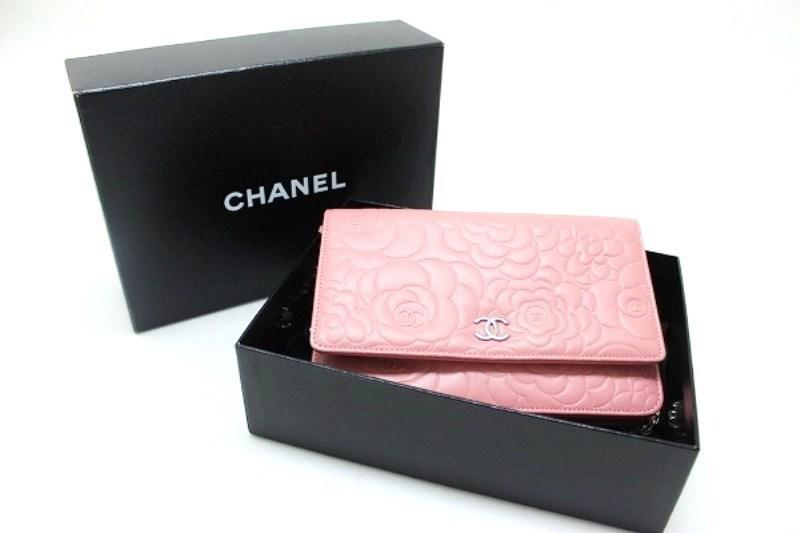 81c986eb6ef7 Chanel Lambskin Camellia Embossed Chain Wallet Bag Pink A47421 in ...