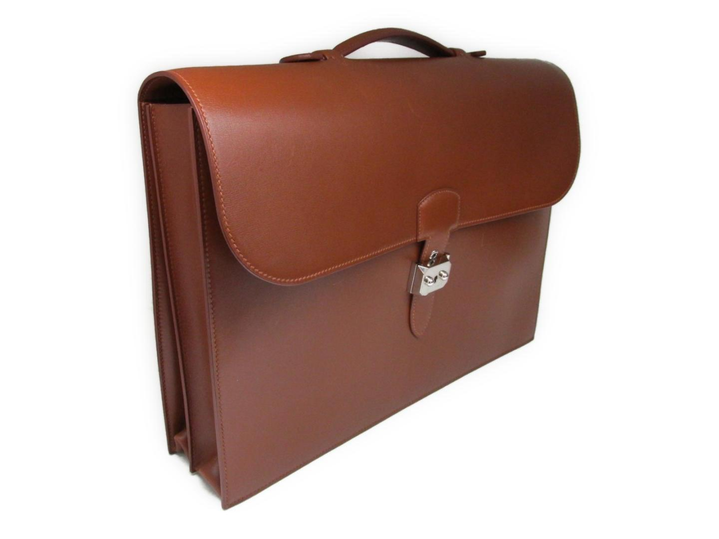 35960383e1ce Lyst - Hermès Sac A Depeche Business Bag Briefcase Box Calf Leather ...
