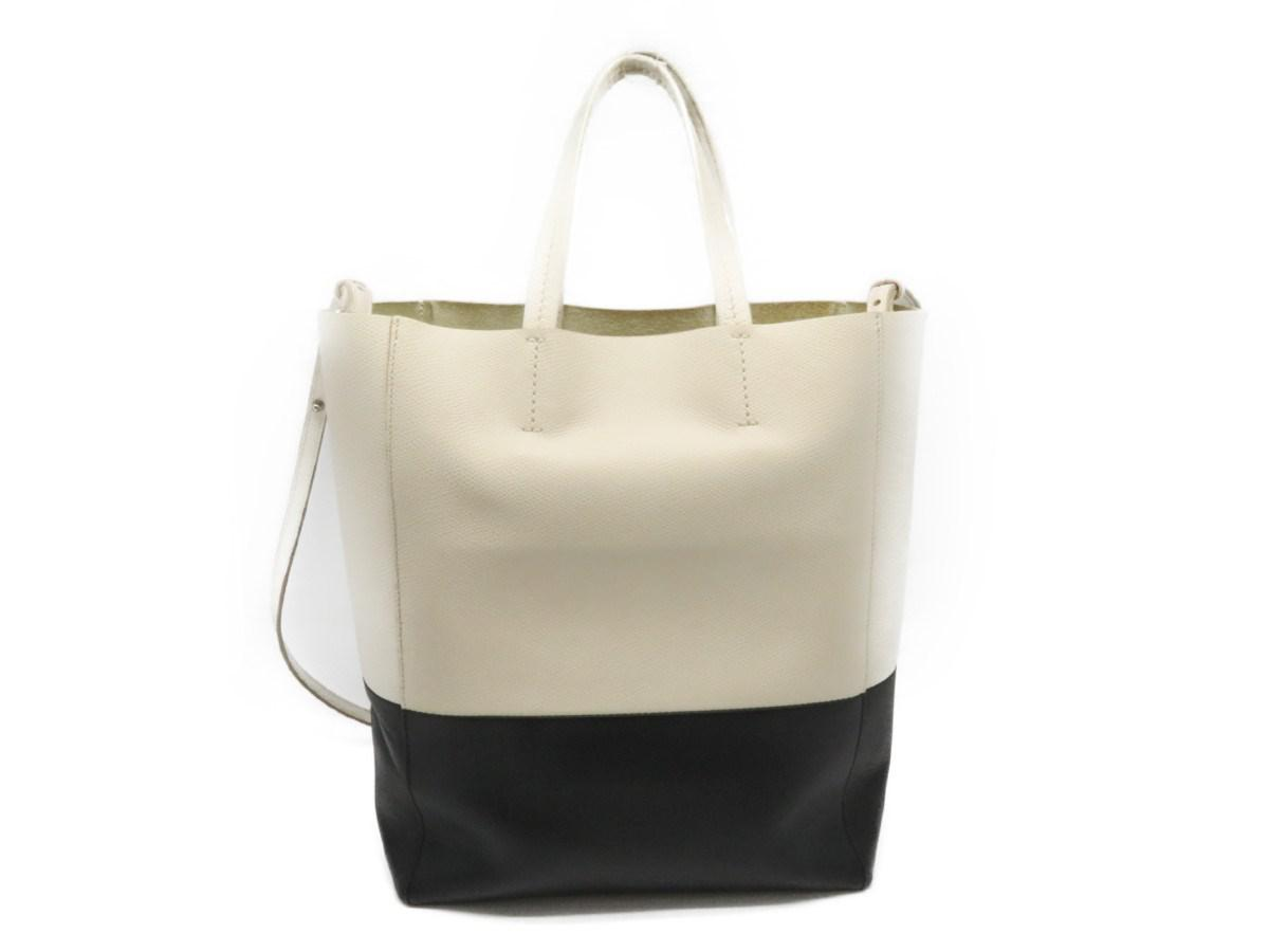 56ac77882c70 Lyst - Céline Calfskin Leather 2 Way Shoulder Tote Bag Black White ...
