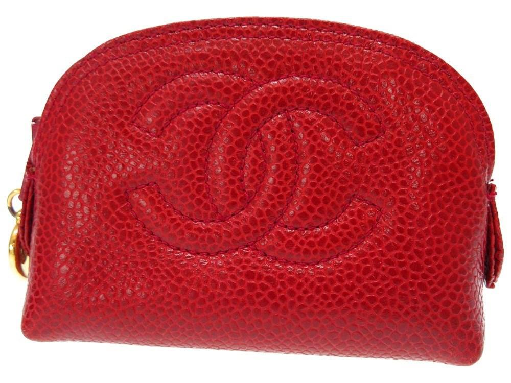 681f26af09af Lyst - Chanel Cc Markcoin Purse Red Leather 0163 in Red