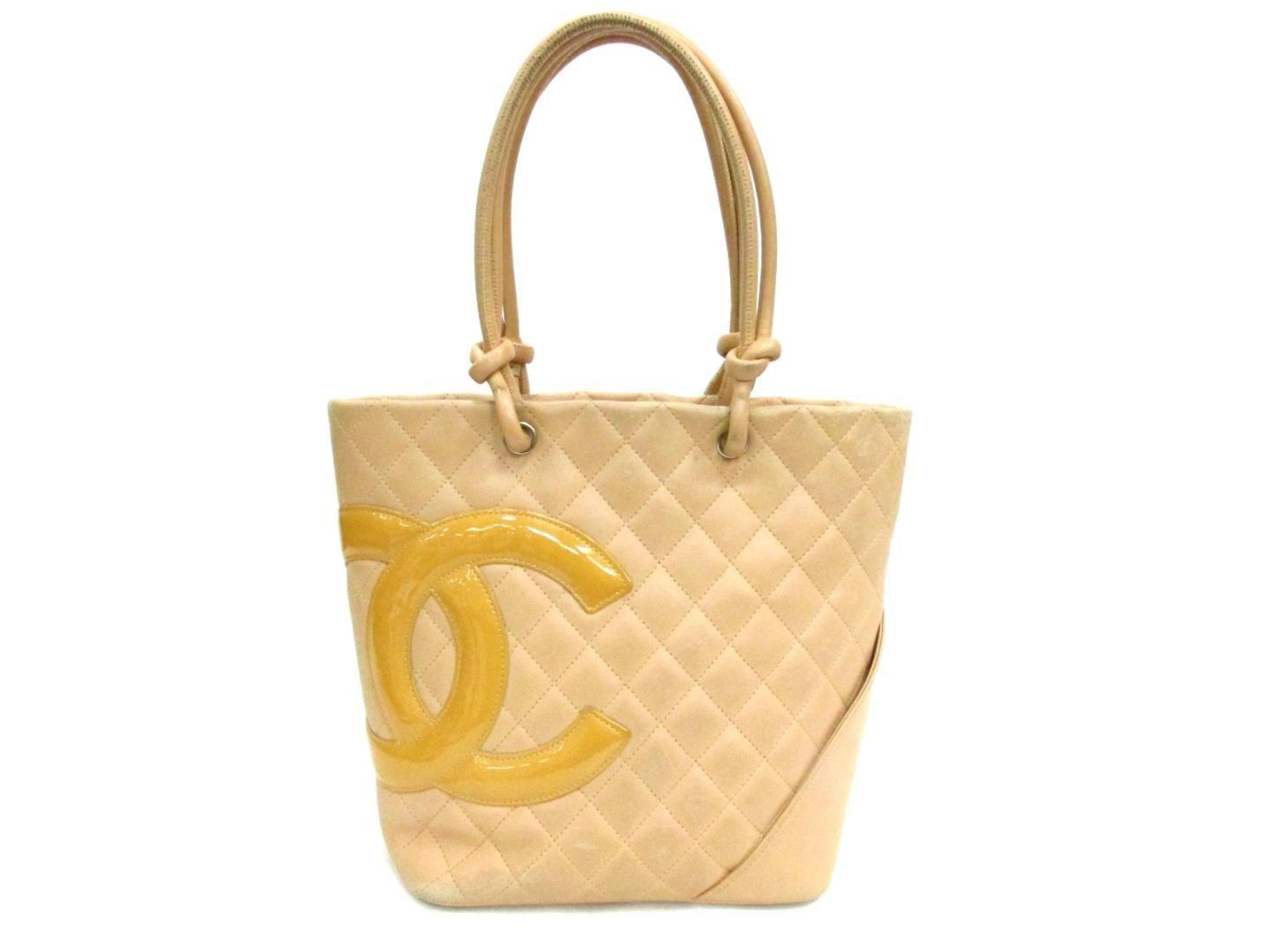 bff05dab1cac Lyst - Chanel Auth Cambon Line Medium Tote Tote Bag A25167 in Natural