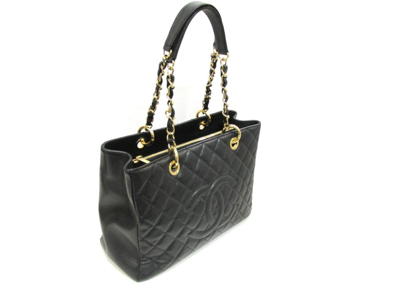d13dc92e597a Lyst - Chanel Gst Tote Bag Chain Shoulder Tote Bag Caviar Skin ...