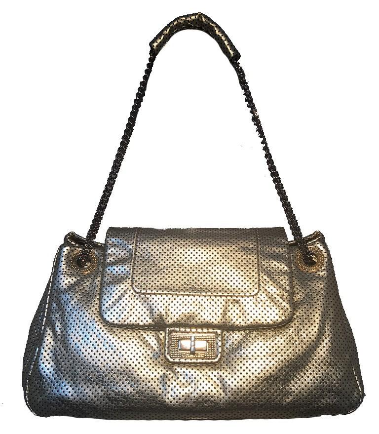 6f02fe93a340 Lyst - Chanel Gold Perforated Leather Classic Flap Shoulder Bag in ...