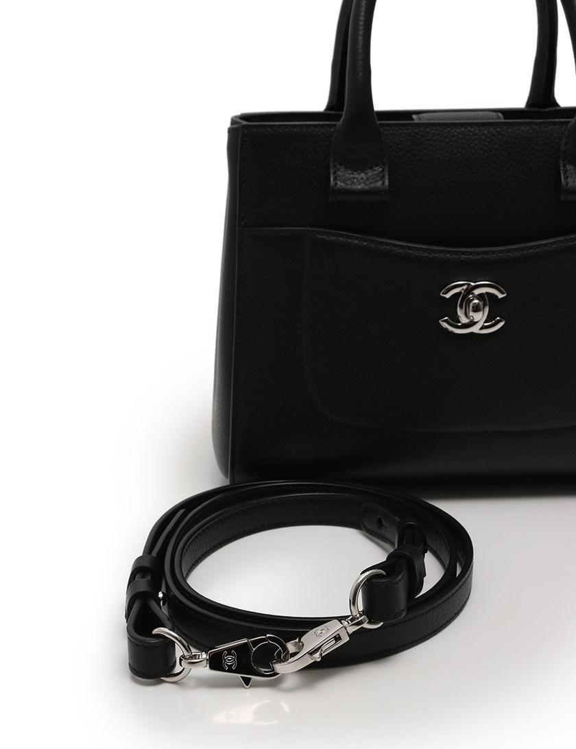 659b7b17f62d Chanel Neo Executive Small Shopping Bag Handbag 2way Leather Black ...