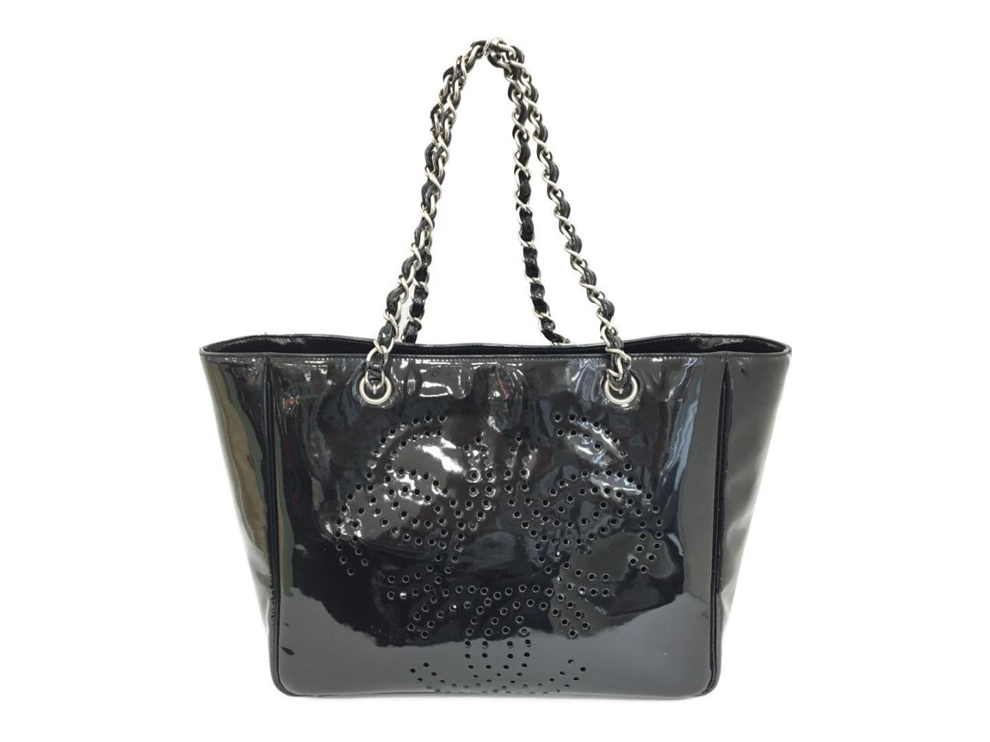 9fa78b62cbc721 Lyst - Chanel Punching Chain Shoulder Tote Bag Black Patent Leather ...