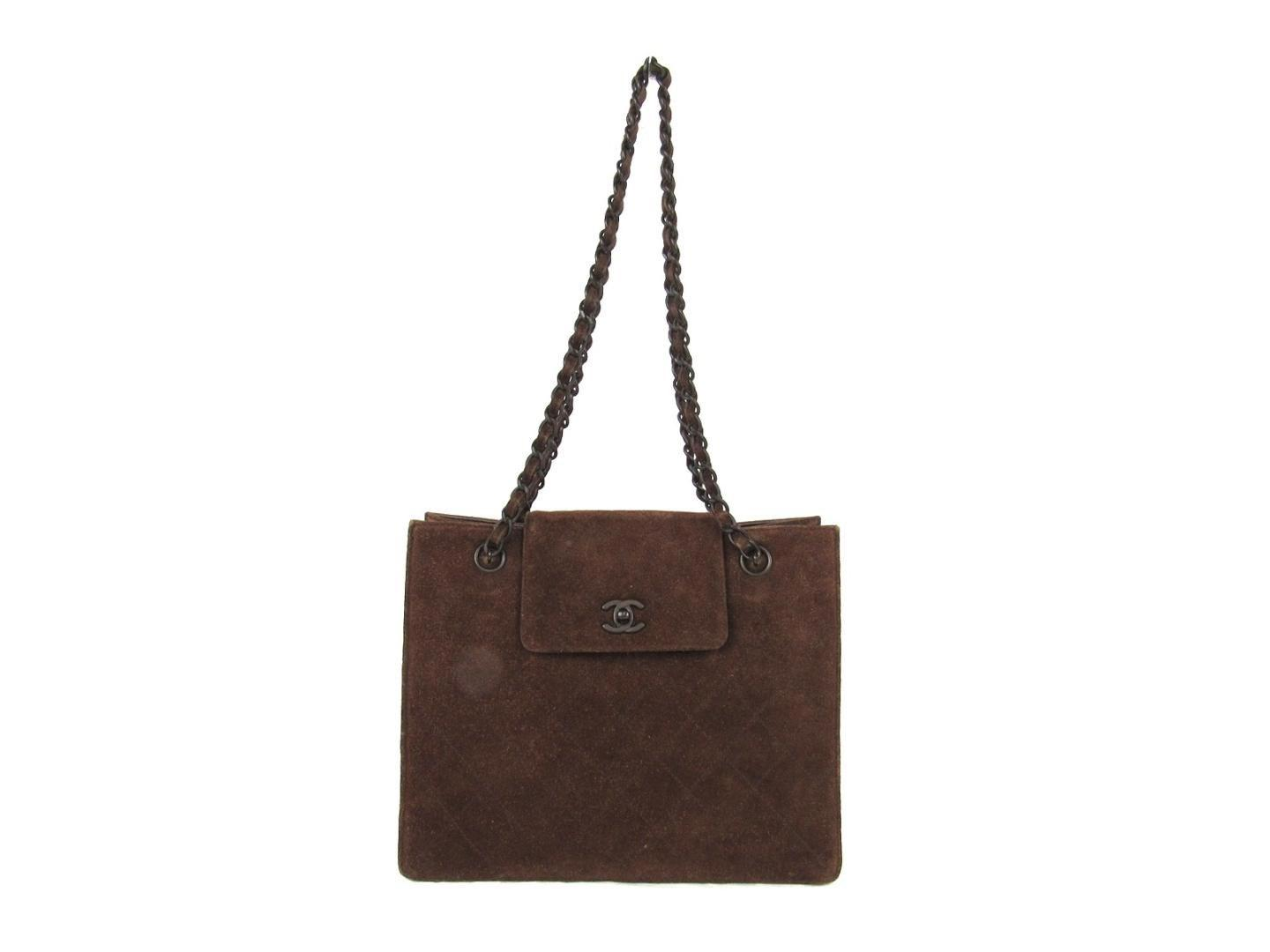 4b95f4116ac0 Lyst - Chanel Chain Shoulderbag Totebag Brown Suede in Brown