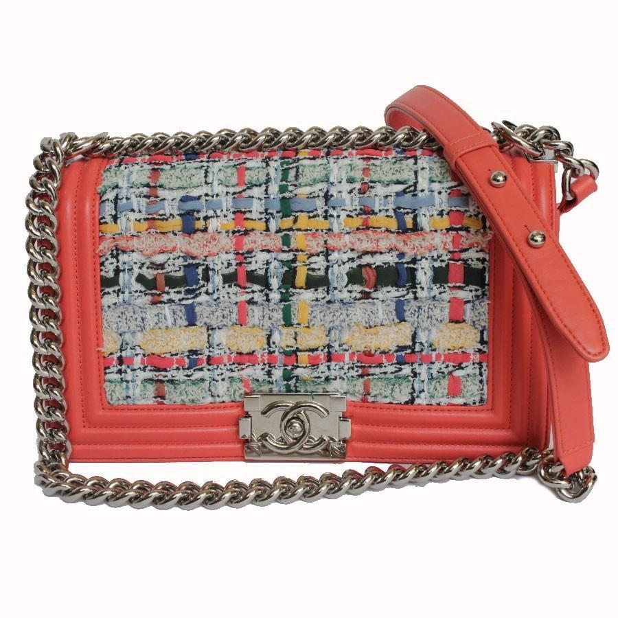 ae8a8c34058c Chanel Boy Multicolor Tweed Bag in Pink - Lyst