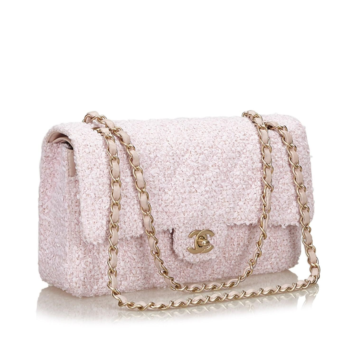 d10151df34f8ae Chanel Small Classic Tweed Double Flap Bag in Pink - Lyst