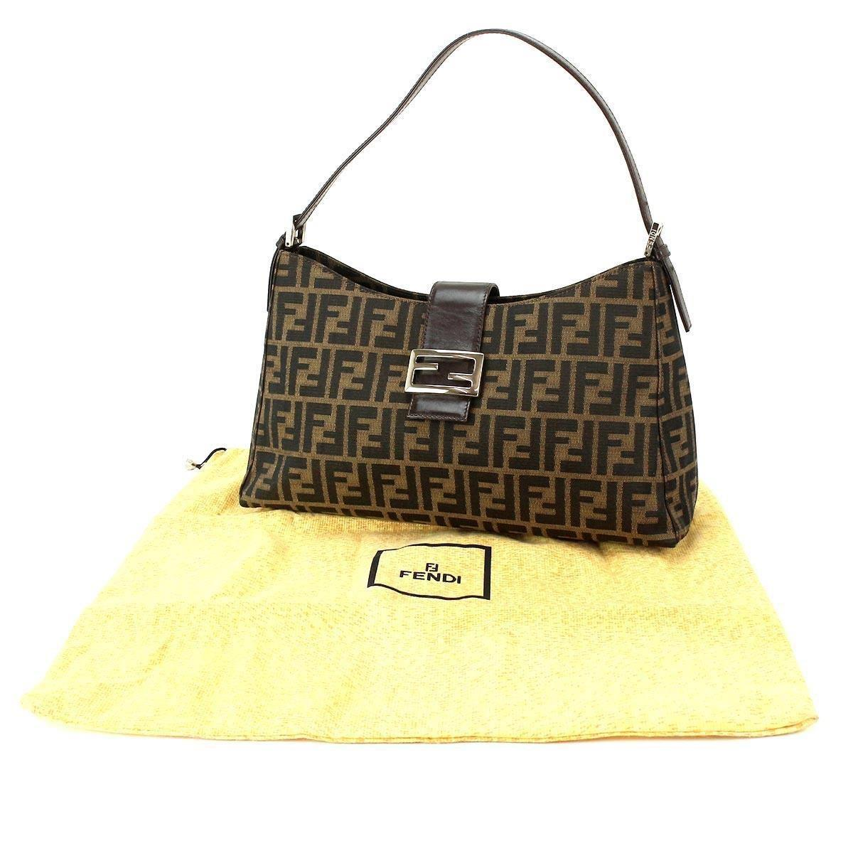 dc631afffeb Fendi Zukka Shoulder Bag Canvas Brown Vintage Purse 90033819.. in ...