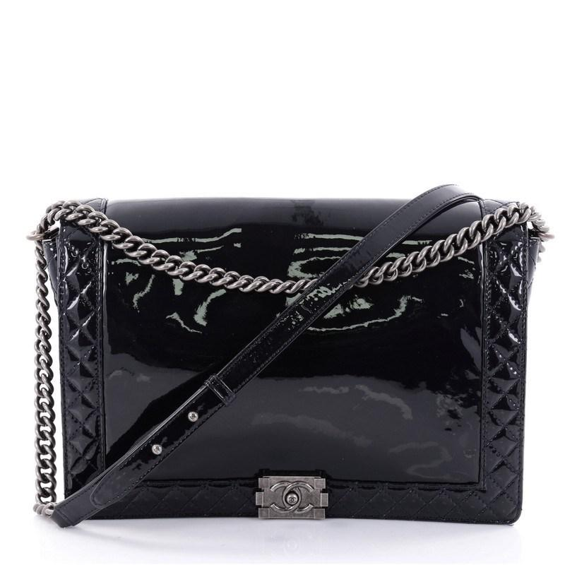 f13fabc54e26 Lyst - Chanel Reverso Boy Flap Bag Patent Large in Blue