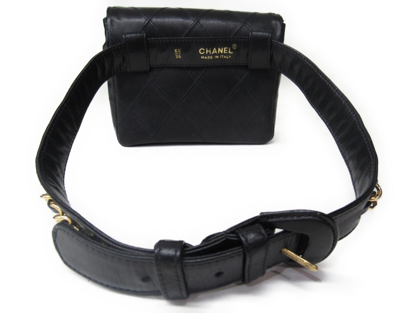 7161b0ed87153c Lyst - Chanel Matelasse Cc Quilted Waist Hip Bag Leather Black in Black