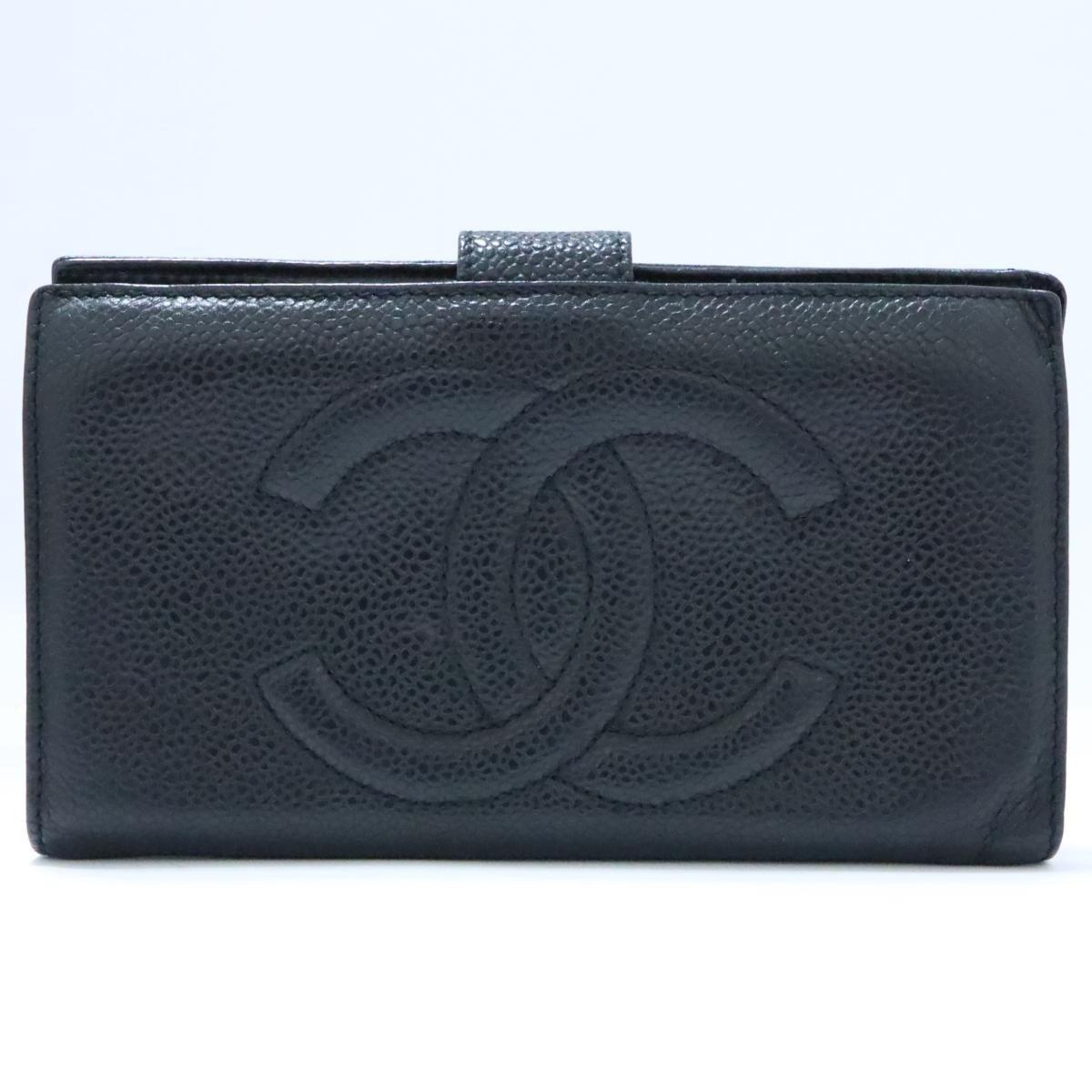 eb83dce611990f Chanel Auth Cc Bi-fold Wallet Long Purse Caviar Leather Black Ghw ...