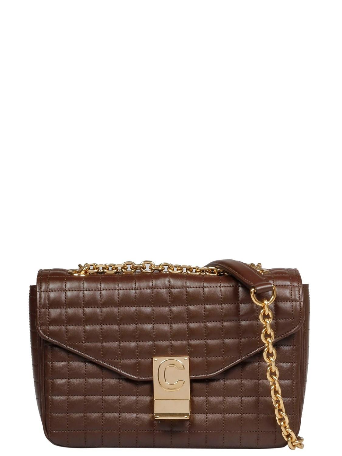 Lyst - Céline Céline Women s 187253bfc19br Brown Leather Shoulder ... 7b28800fb5239