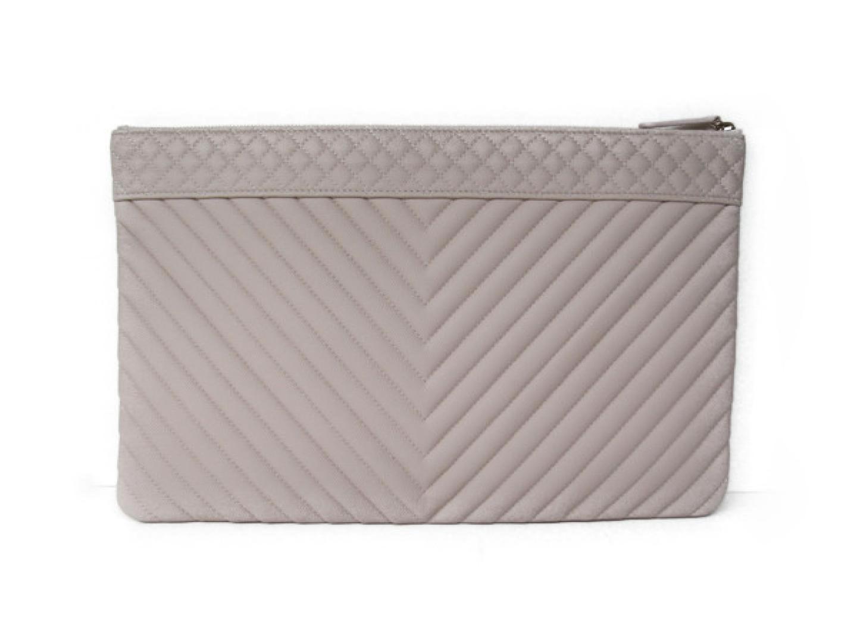 adf8e1ca6c Lyst - Chanel Clutch Second Bag Caviar Skin Leather Beige in Natural