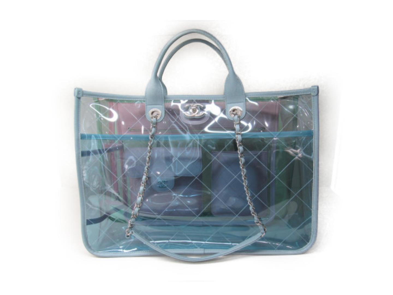 81ae44e93dc2 Chanel 2way Clear Tote Shoulder 2way Hand Bag Pvc Vinyl Coating ...