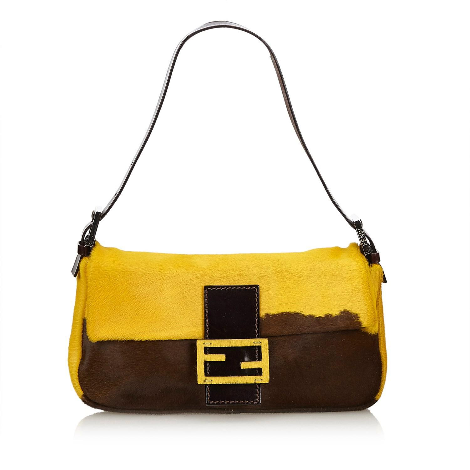 be40482a5c Lyst - Fendi Pony Hair Baguette in Yellow