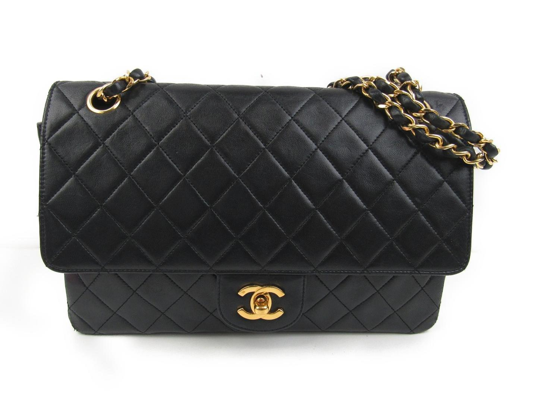 c341dfc4a74e Lyst - Chanel Matelasse W Flap Chain Shoulder Bag Lambskin Leather ...