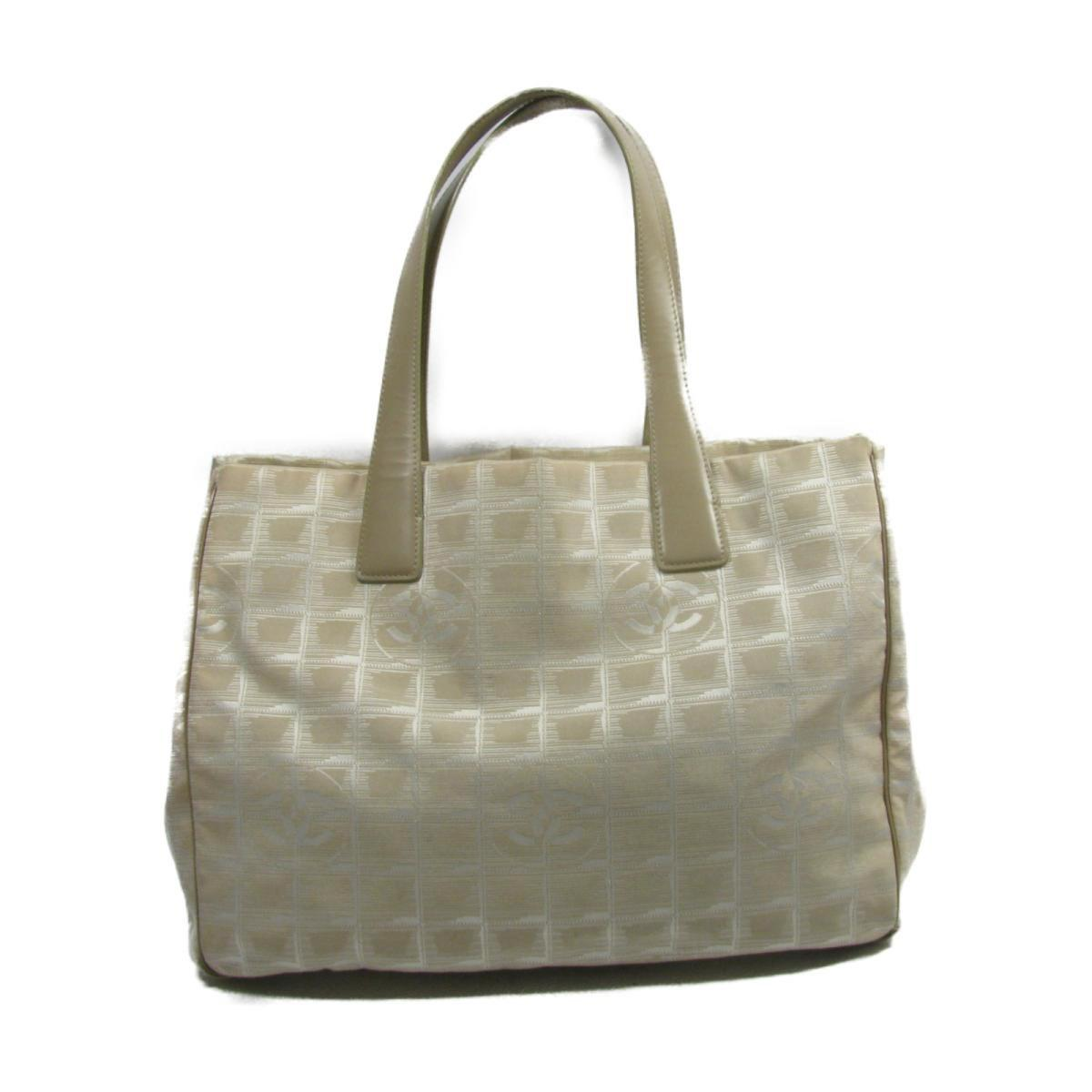 84c6795444c7 Chanel Authentic New Travel Line Mm Tote Bag Nylon Jacquard Beige ...