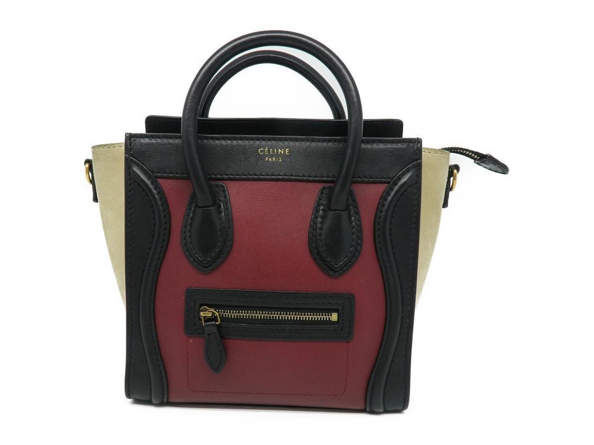 33884eebff Céline - Calfskin Leather Nano Luggage Shoulder Tote Bag Red  Black 8337 -  Lyst