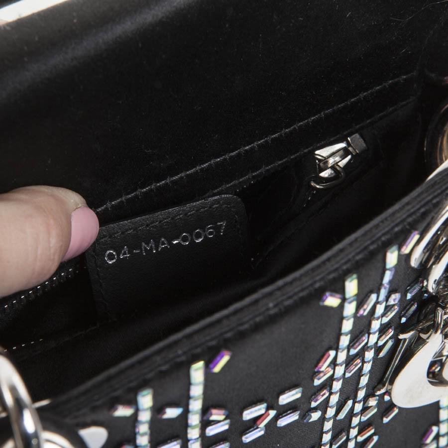 Lyst - Dior Christian Mini Lady D Evening Bag In Black Silk Satin ... 89a9d58f1141c