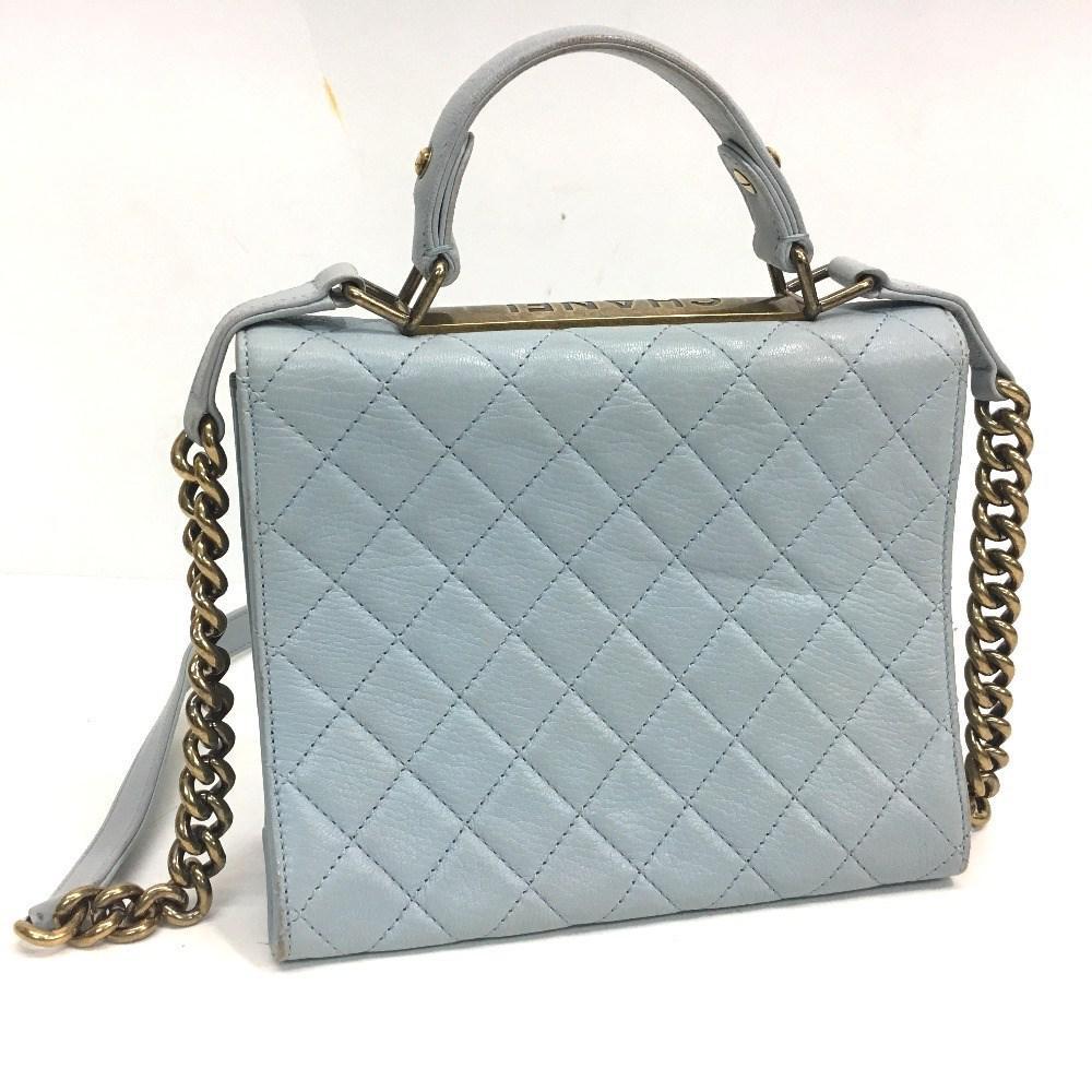 7906da85330b Lyst - Chanel Matelasse 2 Way Hand Bag Light Blue Calf Leather in Blue