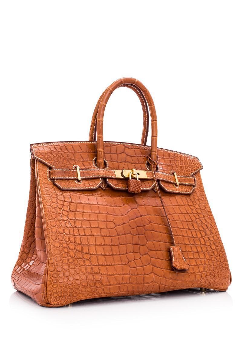 Lyst - Hermès Pre-owned Hermès Gold Porosus Crocodile Mat Birkin 35 ... 7185dc114