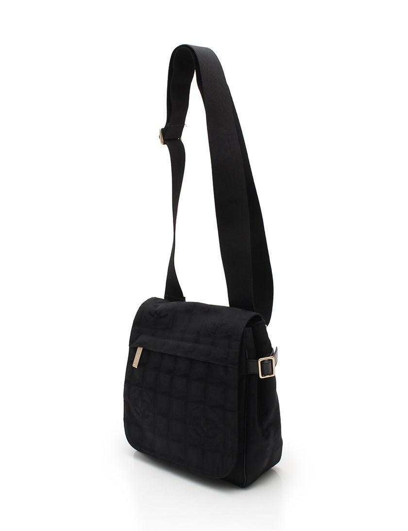 Lyst - Chanel New Travel Line Shoulder Bag Nylon Canvas Black in Black b59bb42fbaaea