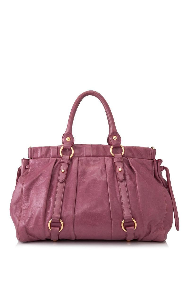 dcf0709d1bad Lyst - Miu Miu Pre-owned Vitello Lux Bauletto Aperto in Pink