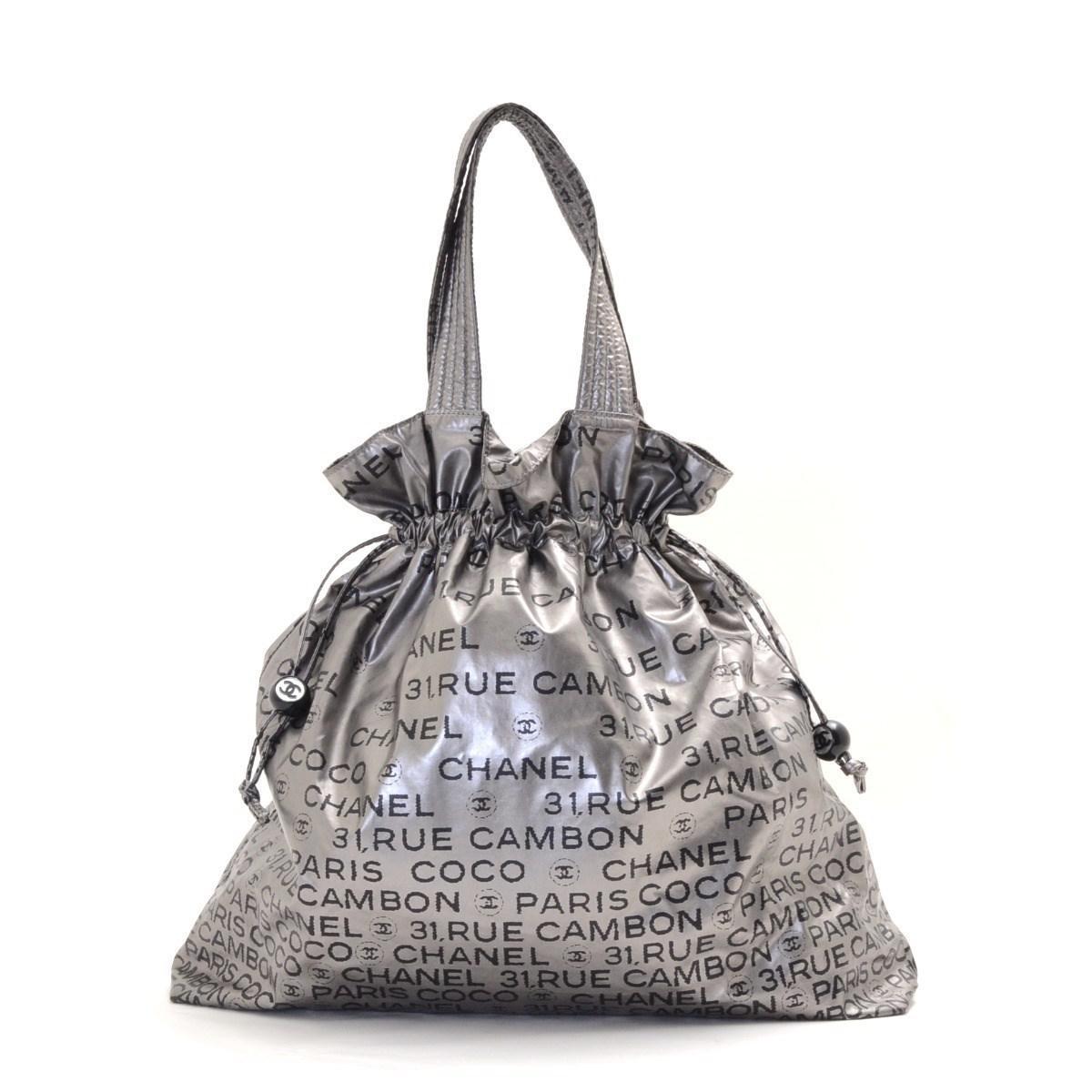 Lyst - Chanel Nylon Unlimited Line Logo Print Tote Bag in Metallic 4c2e6d87d7fe5