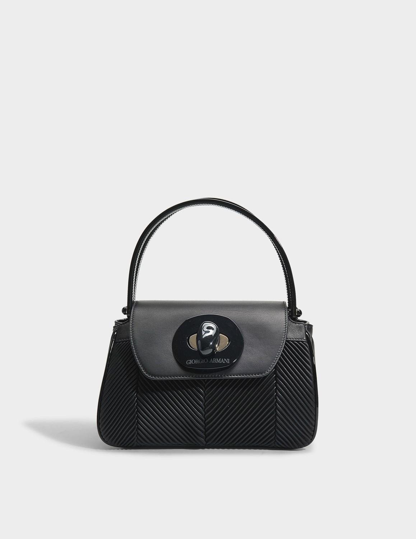 565664f7c9ac Giorgio Armani - Black Musa Pleated Nappa Bag - Lyst. View fullscreen