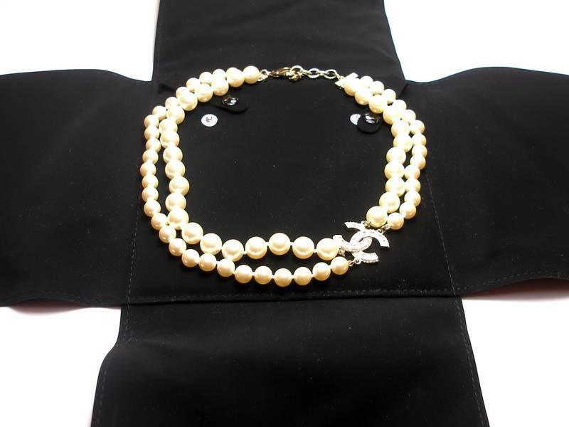c9552dc2827fc Lyst - Chanel 2016 Double Strand Gold Cc White Pearl Necklace in Natural