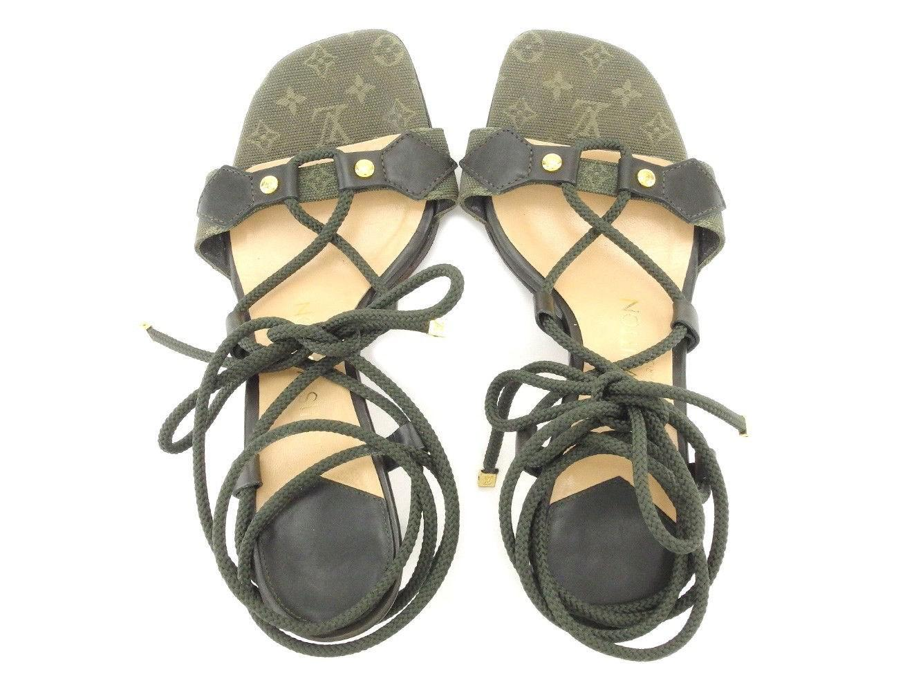 4b6410f7cc14 Lyst - Louis Vuitton Sandals Monogram Mini Ladies Used T4992 in Green