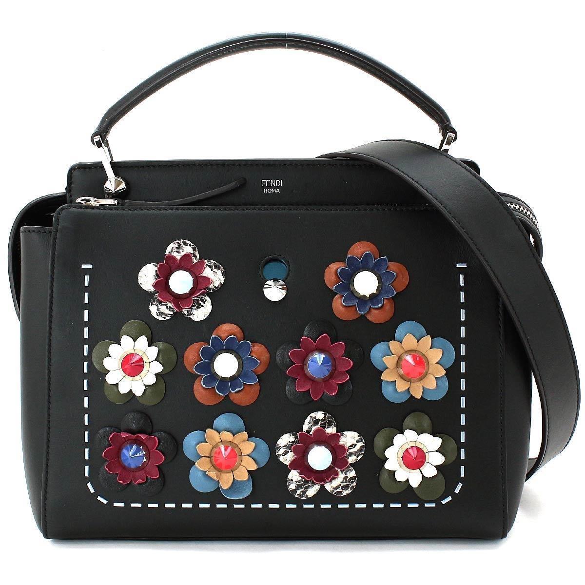 90bfb537a9 Lyst - Fendi Dot Com 2way Hand Shoulder Bag Flower Leather Black ...