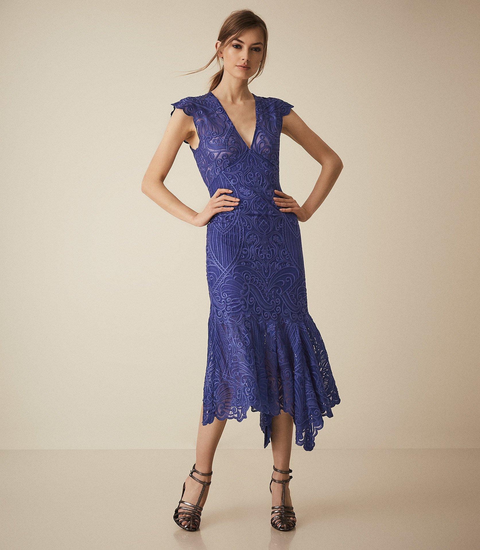 8092fb9954 Lyst - Reiss Anastasia - Lace Overlay Flute Hem Midi Dress in Blue