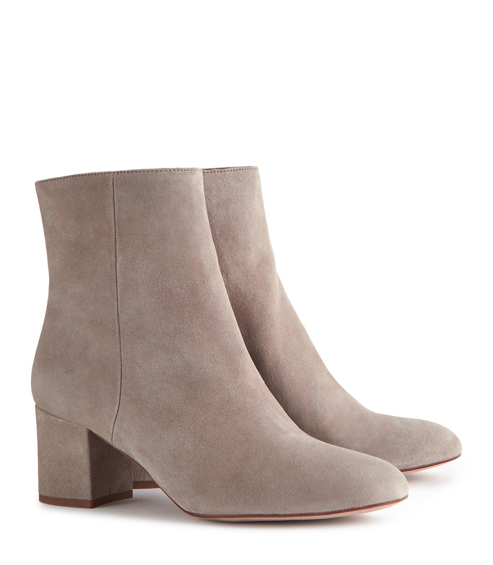 080f5e6614807 Reiss - Gray Delphine - Suede Block Heeled Ankle Boots - Lyst. View  fullscreen