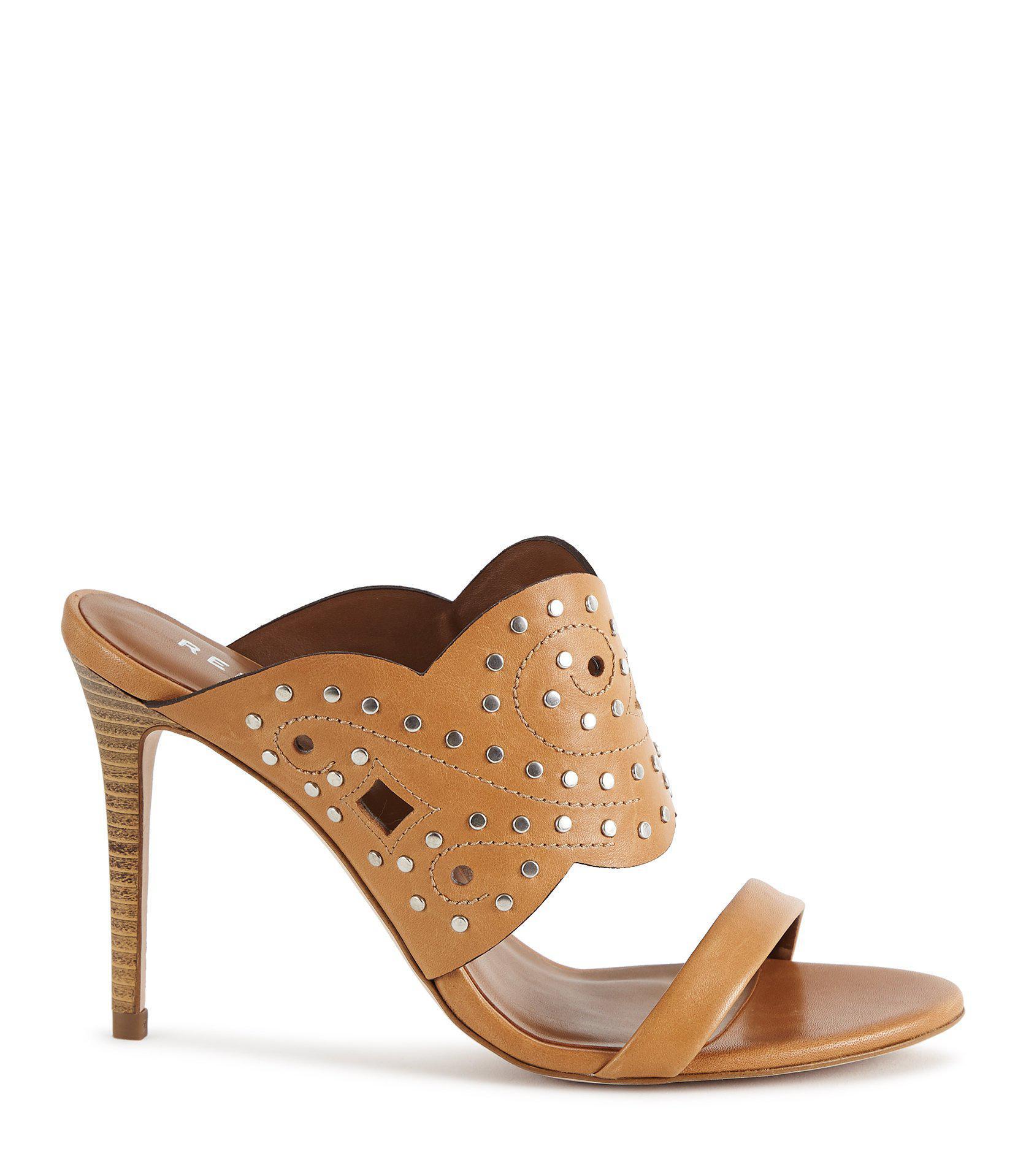 Reiss Women's Lasa Studded High Heel Leather Slide Sandals jIScvwOXk3