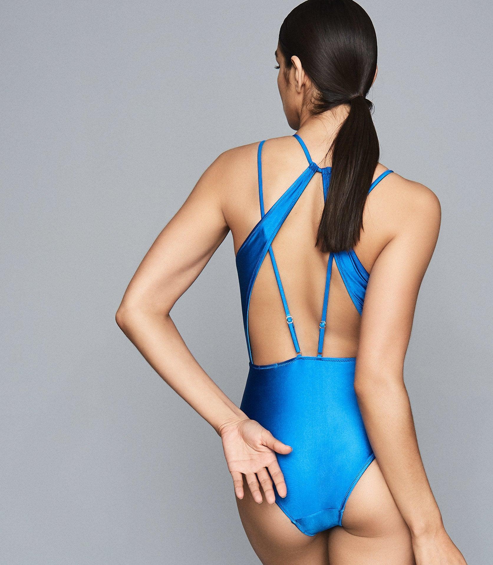 d31a83d9b0 Reiss Rosie - Cut Out Back Swimsuit in Blue - Lyst