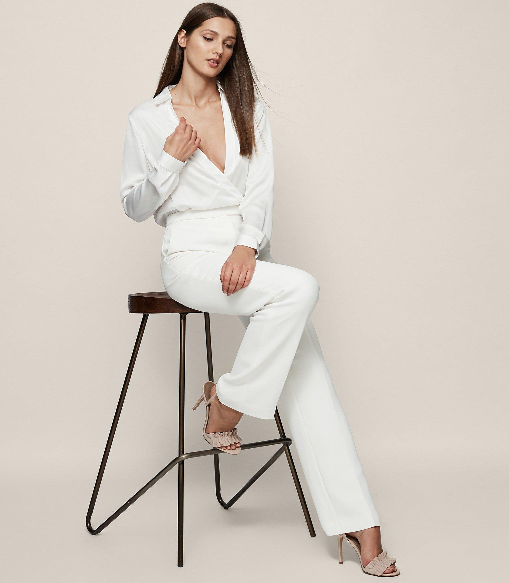 9cea5bf29f7 Lyst - Reiss Imie - Wrap-front Jumpsuit in White