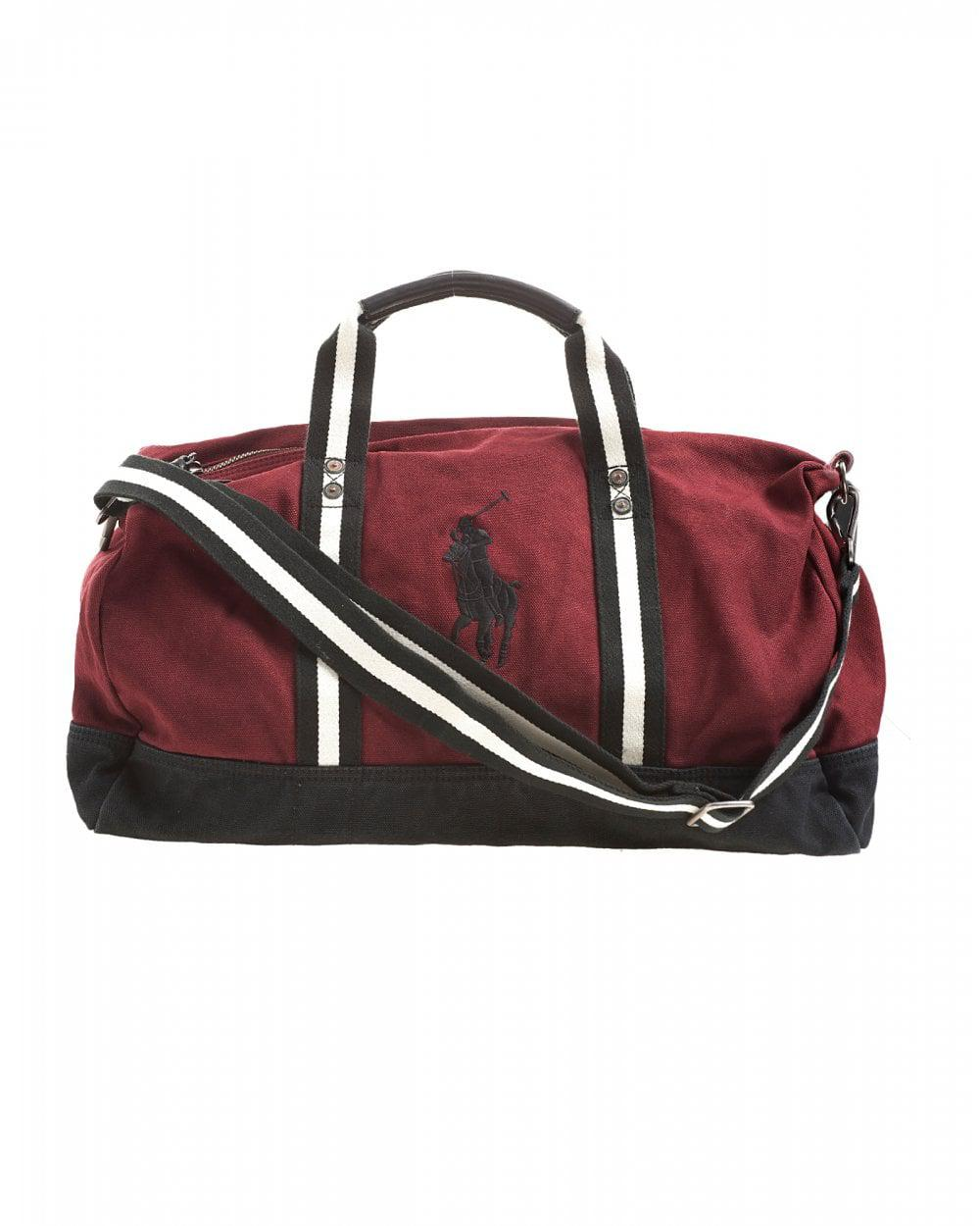 97671c0a38 Ralph Lauren Polo Player Striped Wine Red Gym Bag in Red for Men - Lyst