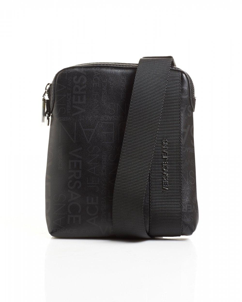 22506bab6e2 Versace Jeans All Over Logo Printed Black Stash Bag in Black for Men ...