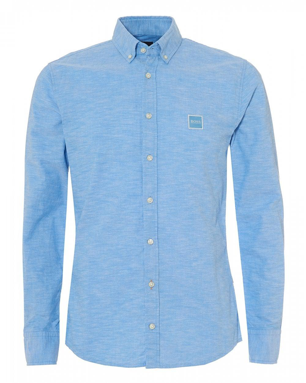 4122402f BOSS - Mabsoot Slim Fit Sky Blue Oxford Shirt for Men - Lyst. View  fullscreen
