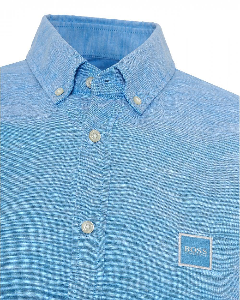 da9cbab9d BOSS - Mabsoot Slim Fit Sky Blue Oxford Shirt for Men - Lyst. View  fullscreen