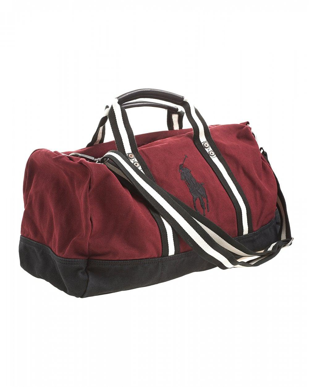 fcd8ee542f22 Lyst - Ralph Lauren Polo Player Striped Wine Red Gym Bag in Red for Men