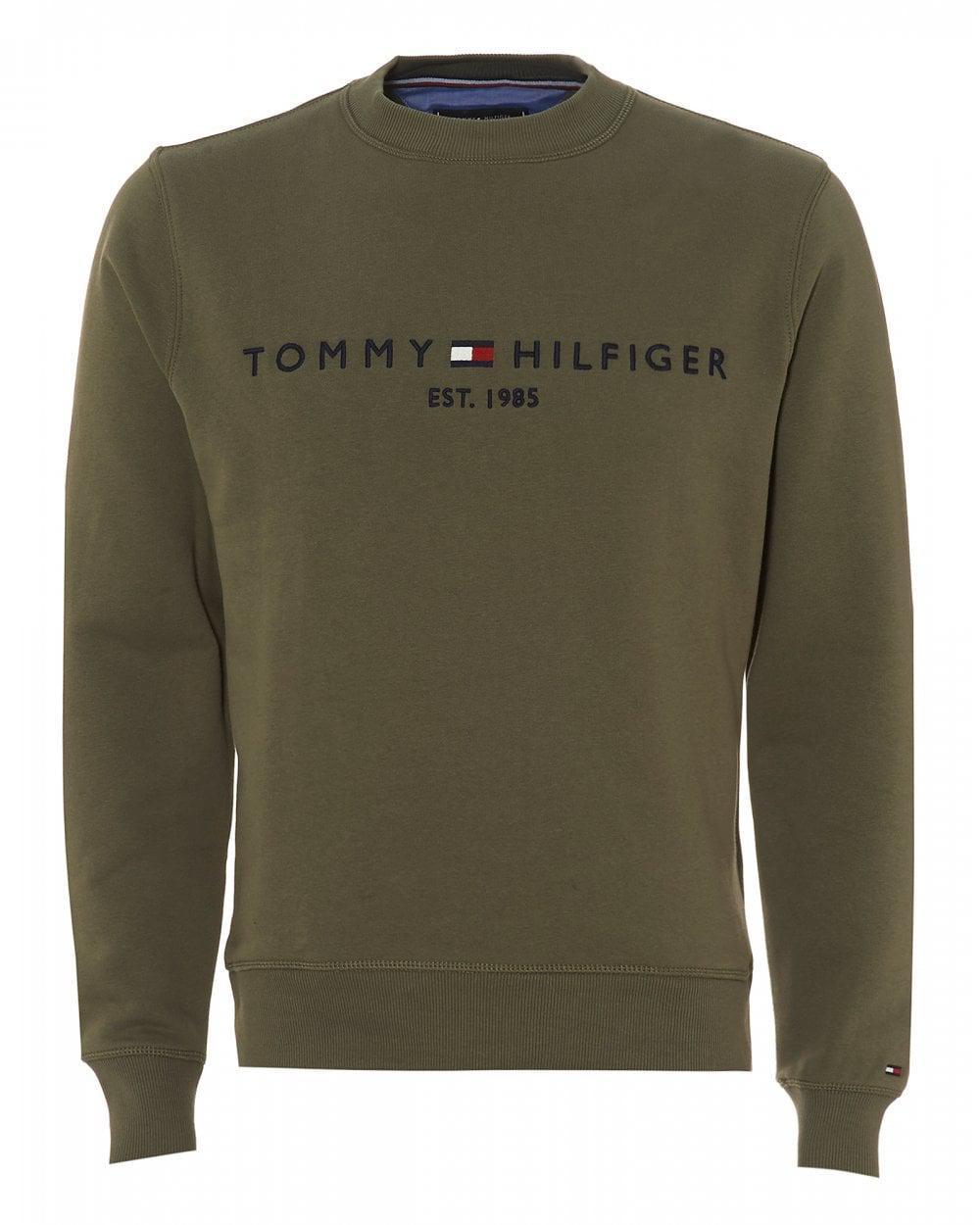 56eaf452168 ... 4668b8be Tommy Hilfiger Est. 1985 Logo Sweatshirt, Dusty Olive Sweat in  Green .
