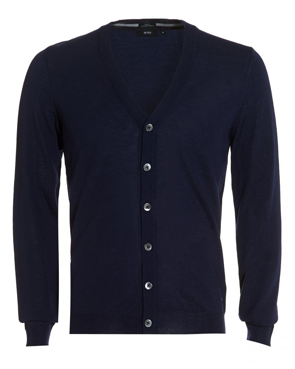 Boss black Mardon Cardigan, Slim Fit Navy Blue Merino Wool ...