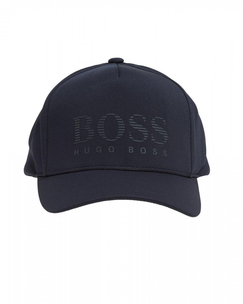 a2585f1e31f BOSS. Men s Blue Jersey Striped Logo Hat ...
